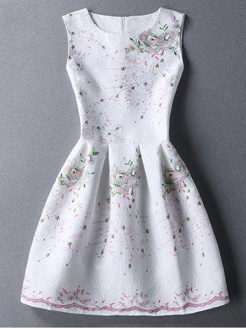 Discount Ladylike Round Neck Sleeveless Printed Jacquard Women's Dress WHITE M