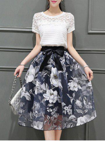 New Elegant Round Neck Short Sleeves Floral T-Shirt + Organza Skirt For Women
