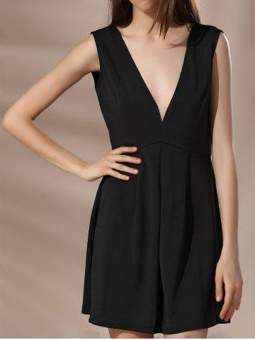 Chic Low Cut Backless Mini A Line Dress