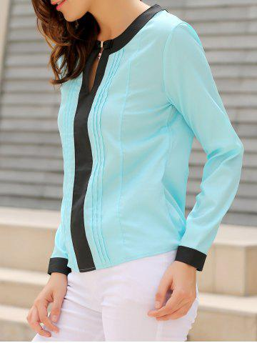 Shop Stylish Round Collar Long Sleeve Color Block Ruffled Women's Blouse