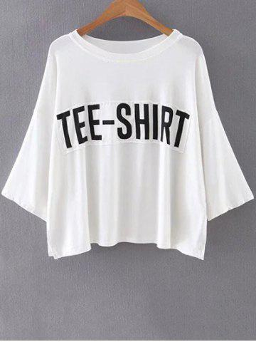 Trendy Casual Round Neck Batwing Sleeve Letter Patchwork T-Shirt For Women