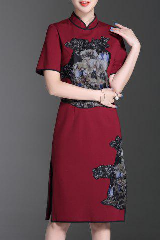 Sale Stand Collar Applique Vintage Midi Dress