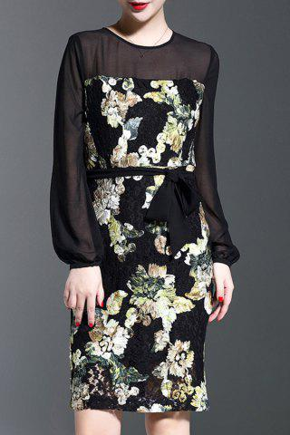 New See-Through Floral Pattern Bodycon Dress