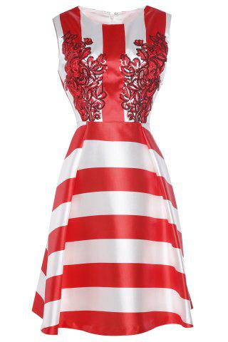 Fashion Waisted Corset Striped Sequined Dress