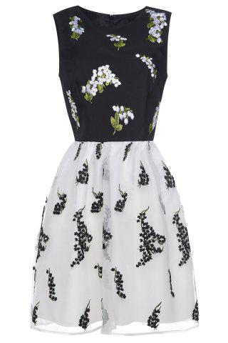Cheap Waisted Corset Embroidery Dress