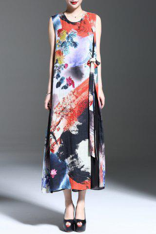 Fashion Floral Print Slit Sleeveless Midi Dress