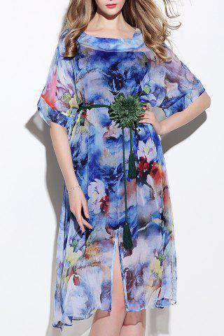 Best Colored Silk Two-Piece Dress With Belt