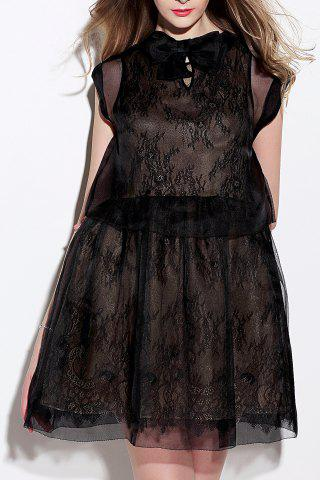 Trendy Sheer Mesh Dress and Lace Dress Twinset