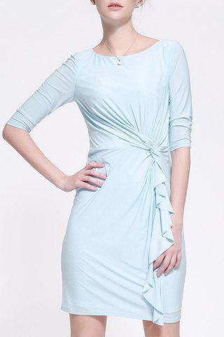 Online Twist Fitting Solid Color Dress