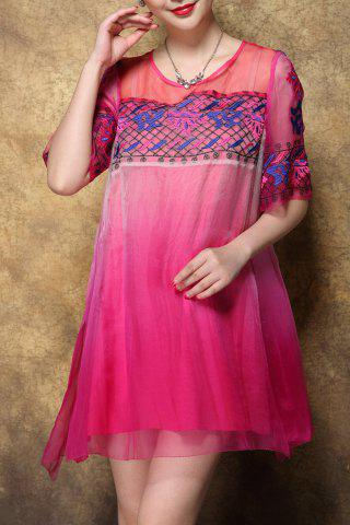 New Scoop Neck Embroidered Ombre Silk Dress