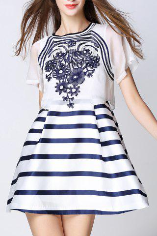 Shop Embroidered Striped Faux Twinset Dress