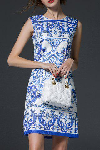 Fancy Blue and White Porcelain Print Dress