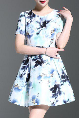 Fancy Round Collar Floral Print A-Line Dress