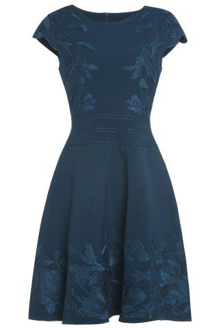 Latest Retro Belted Floral Embroidery Dress