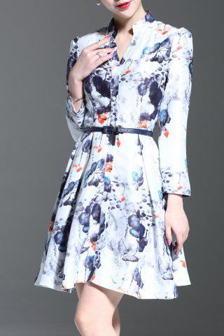 Sale Stand Collar Floral Print Long Sleeve Dress