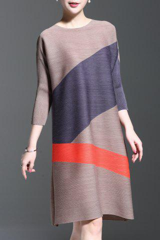 New Round Collar Ruched Color Patchwork Dress