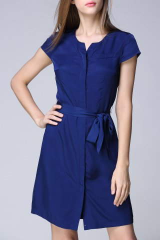 Affordable Short Sleeve Solid Color Belted Dress
