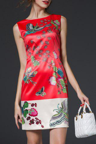 Chic Jacquard Sheath Floral Dress