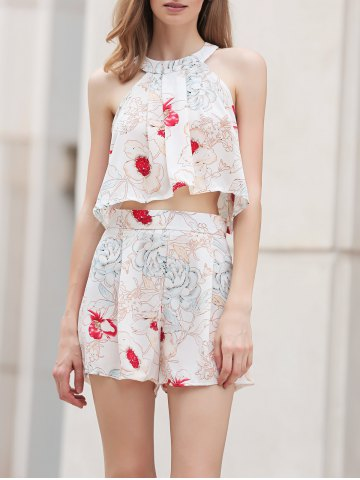Shops Stylish Floral Print Cropped Top and Shorts Twinset For Women