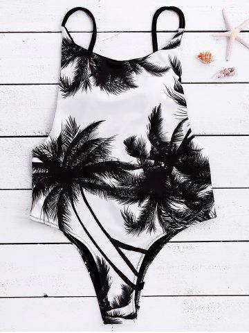 Affordable Spaghetti Strap Coconut Tree Print Tropical Backless Swimwear WHITE AND BLACK S