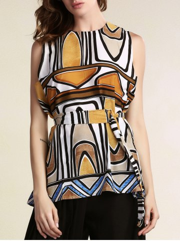 Store Stylish Round Neck Sleeveless Geometric Pattern Women's Dress