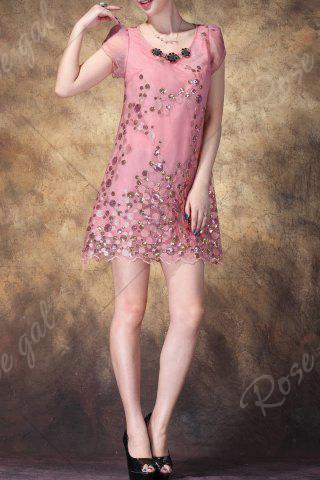 Trendy Scoop Neck Sequined Embroidered Dress - L PINK Mobile
