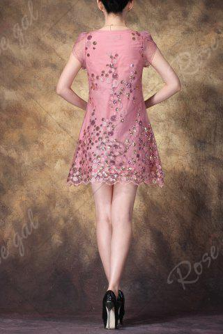 Sale Scoop Neck Sequined Embroidered Dress - L PINK Mobile