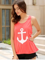 Stylish Scoop Collar Sleeveless Anchor Print Bowknot Design Women's Tank Top