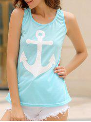 Stylish Scoop Collar Sleeveless Anchor Print Bowknot Design Women's Tank Top -