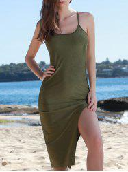 Side Slit Spaghetti Strap Bodycon Day Dress - ARMY GREEN
