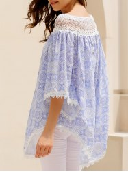 Asymmetric Lace Panel Trim Top