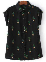 Casual Shirt Collar Short Sleeves Plant Pattern Shirt For Women -