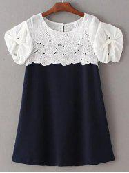 Sweet Round Collar Short Sleeves Cut Out Patchwork Laciness Dress For Women -