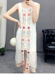Ethnic Style Scoop Neck Sleeveless Embroidery Dress For Women -