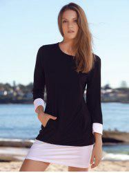 Brief Scoop Neck Color Block Long Sleeves Mini Dress For Women -