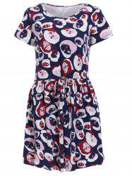 Fashionable Jewel Neck Short Sleeves Face Print Dress For Women -