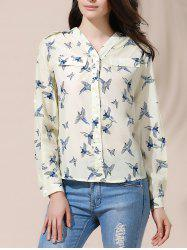 Casual Style V-Neck Full Bird Print Long Sleeve Women's Blouse - BEIGE