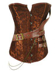 Retro Style Steel Boned Patchwork Floral Corset For Women -
