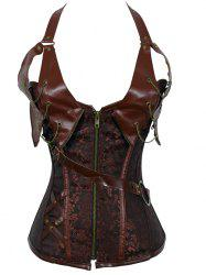 Alluring Floral Patchwork Halter Corset For Women