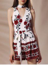 Stylish Stand Collar Flower Print Self Tie Cut Out Sleeveless Women's Romper -