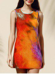 Women's Stylish Tie Dye Print Jewel Neck Tank Dress - COLORMIX