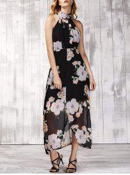 Trendy Stand Collar Sleeveless Floral Print Furcal Backless Women's Dress