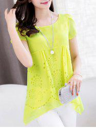 Trendy Scoop Neck Short Sleeve Pure Color High Low Women's Blouse