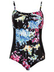 Plus Size Spaghetti Strap Printed Women's One-Piece Swimwear - BLACK 2XL