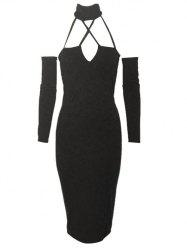 Alluring Long Sleeve Halter Hollow Out Design Women's Dress -