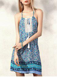 Spaghetti Strap Tiny Floral Summer Dress - LAKE GREEN S