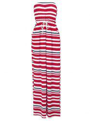 Stylish Strapless Striped Drawstring Waist Women's Maxi Dress