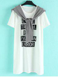 Chic Plus Size Scoop Neck Short Sleeve Letter Print Tie Embellished Women's Dress