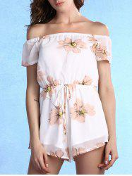 Sweet Off-The-Shoulder Floral Print Self-Tie Women's Romper