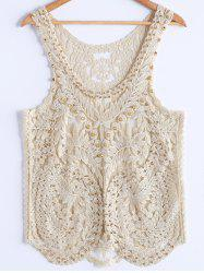 Stylish Scoop Neck Studded Embroidey Mesh Tank Top For Women -